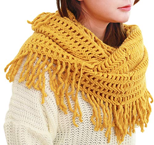 Winter Thick Pure Color Cut Out Knit Infinity Circle Loop Tassel Scarf