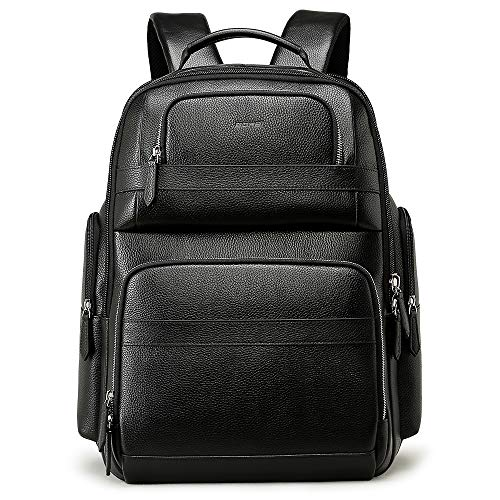 Bopai 40L Leather Backpack for Men 15.6 inch Laptop Backpack with USB Charging Business Travel Backpack for Men