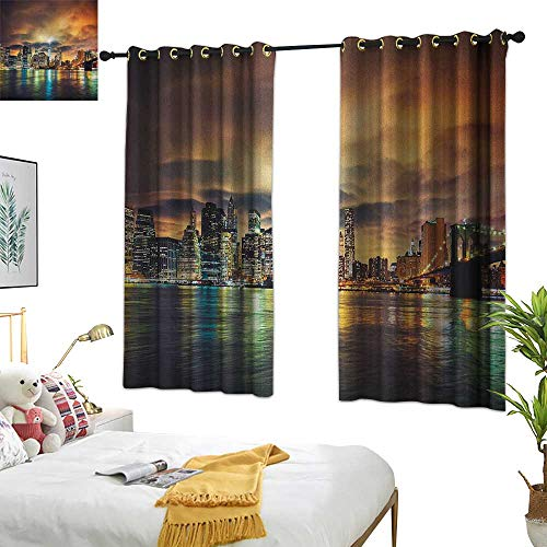 Warm Family Room Curtains City,Fantasy Dramatic Sky in