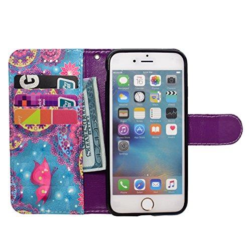 Funda iPhone 7,SainCat Funda de cuero sintético tipo billetera con correa de cordón de Suave PU Carcasa Con Tapa y Cartera,Soporte Plegable,Ranuras para Tarjetas y Billetera Funda de Flip Ranuras Tarj Mariposa