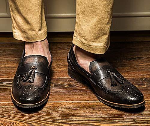 Yao Echtes Leder Quaste Mokassins Slip Auf Loafers Freizeitschuhe Mokassins Quaste Vintage Handgefertigte Schuhe Für Männer (Farbe : schwarz, Größe : 43 EU) schwarz 43e4ba