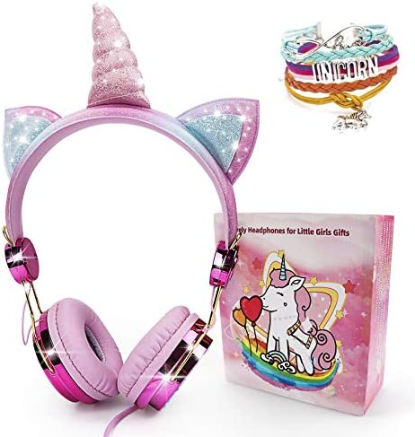 Unicorn Headphones for Kids, Snow Abonci Over On Ear Wired Headset with Microphone Adjustable Headband, 3.5mm Jack and HD Sound Headphones for School, Birthday, Xmas, Unicorn Gifts