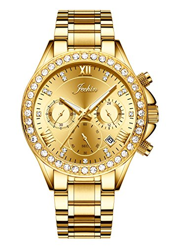 Jechin Women's Luxury Diamond Crystal Chronograph Watch Charm Jewelry Gold Stainless Steel Bracelet Watches Woman from Jechin