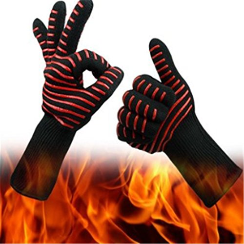 SOURBAN BBQ Oven Gloves Heat-resistant Gloves Insulated & Silicone Lined Gloves Red ()