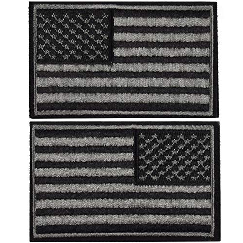 2 Pieces Tactical US American Flag Patch, Military USA United States of America Uniform Emblem Patches, Multitan - Reverse Balck