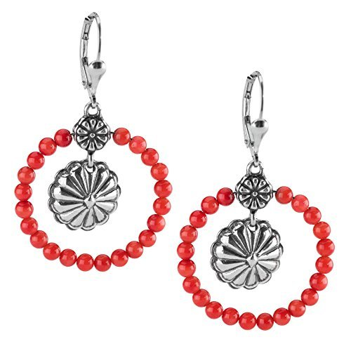 Red Sea Bamboo Ring - Sterling Silver Red Sea Bamboo Coral Hoop Earrings