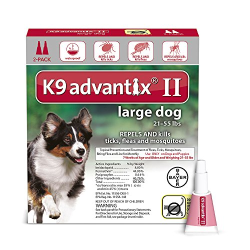Bayer K9 Advantix II Flea, Tick and Mosquito prevention for Large Dogs 21 – 55 lbs, 2 doses