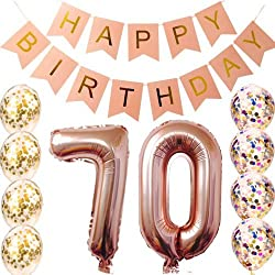 70th Birthday decorations Party supplies-70th Birthday balloons Rose Gold,70th birthday banner,70th birthday gifts for women,use them as Props for Photos (Rose gold 70)