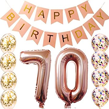 70th Birthday Decorations Party Supplies Balloons Rose Gold70th Banner Sc 1 St Amazon