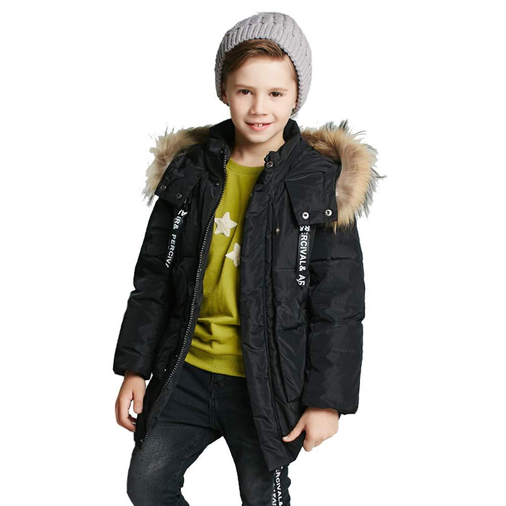 noir 140cm YZ-HODD garçons Down veste encapuchonné Long Pardessus d'épaississeHommest, Canard vers Le Bas remplissant Chaud et Coupe-Vent, Manteau d'enfants-pour l'hiver
