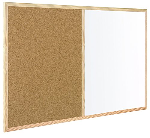 MasterVision Combination Dry Erase / Cork Bulletin Board, 3 x 4 Feet, Oak Frame (MX141212319) by MasterVision