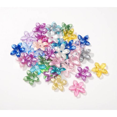 Package of 300 Assorted Color Plastic Flower Shaped Beads for Crafting, Creating and - Flowers Acrylic