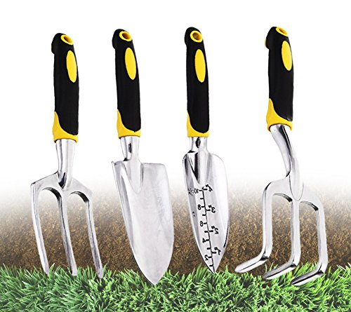 Yacoto 4 Piece Softouch Garden Tool Set Ergonomic Gardening Tool Set – Ideal for Men and Women – Cultivator, Planter, Trowel with Softouch Handles