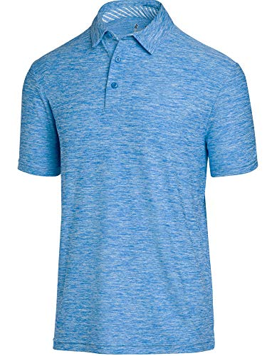 Three Sixty Six, Mens Dry Fit Golf Polo Shirt, Athletic Short Sleeve Polo Golf Shirts, Cool Blue Large