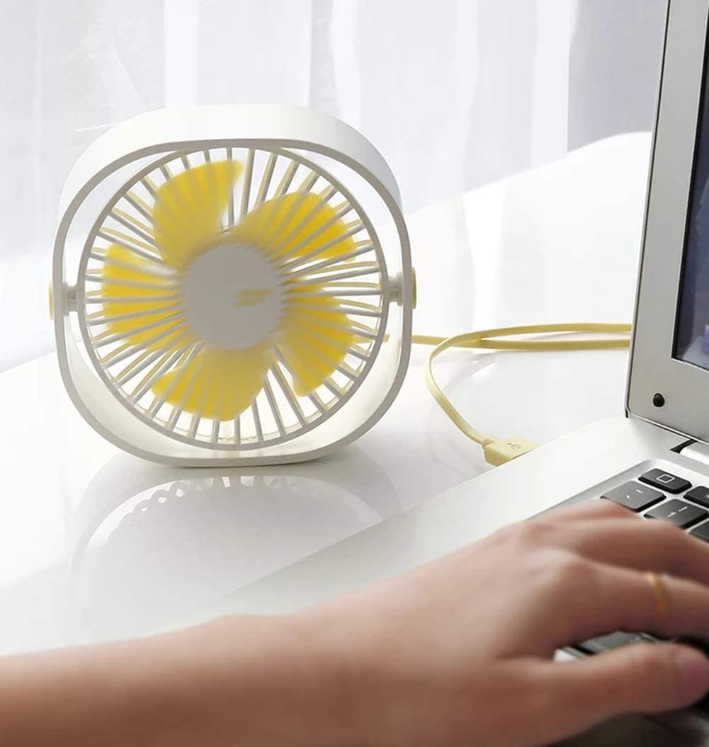 HOLOWELL Small USB Desk Fan – 3 Speed Portable Mini Quiet Personal Fan for Home,Office and Travel White