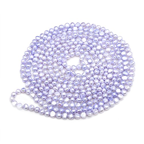 Jade Angel Purple 7-8mm Freshwater Cultured Baroque Shape Pearls Necklace 100 (Pearl Purple Jade Necklace)