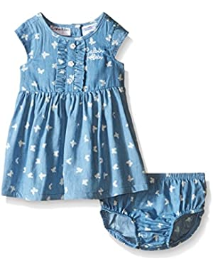 Baby Girls' Butterfly Print Chambray Dress and Panty