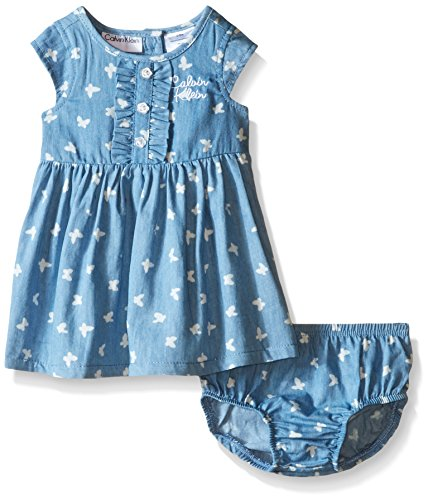 Calvin Klein Baby Girls' Butterfly Print Chambray Dress and Panty, Blue, 18 Months