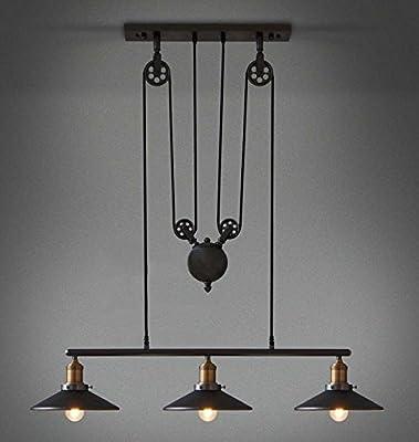 YANGCAN Loft Vintage Retro Wrought Iron Black Chandelier Adjustable Pulley Industrial Lamp Light Mirror Fixtures