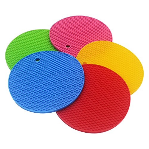 Epro Silicone Trivet Mats, Pot Holders, Hot Pads, Spoon Rest, Coasters Non-slip Heat Resistant Extra Thick & Flexible 5 PCS Set by Epro