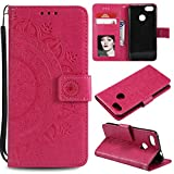Floral Wallet Case for Huawei P9 Lite Mini,Strap Flip Case for Huawei P9 Lite Mini,Leecase Embossed Totem Flower Design Pu Leather Bookstyle Stand Flip Case for Huawei P9 Lite Mini-Red