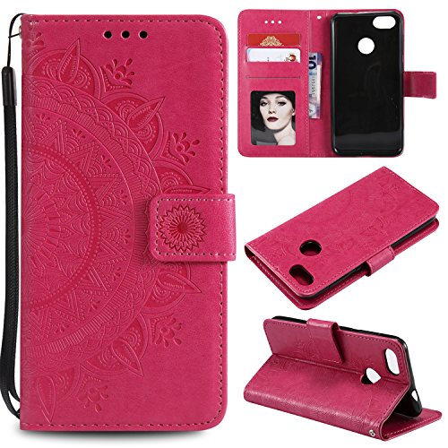 Floral Wallet Case for Huawei P9 Lite Mini,Strap Flip Case for Huawei P9 Lite Mini,Leecase Embossed Totem Flower Design Pu Leather Bookstyle Stand Flip Case for Huawei P9 Lite Mini-Red by Leecase