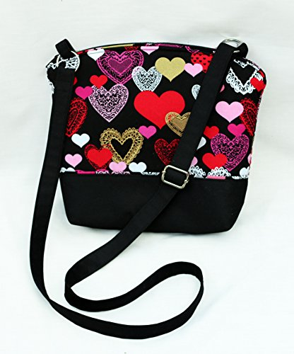 Lightweight Spool (Valentine's Day cross body purse. Fully padded with foam and lined with cotton. Lightweight and comfortable. Washable and iron safe.)