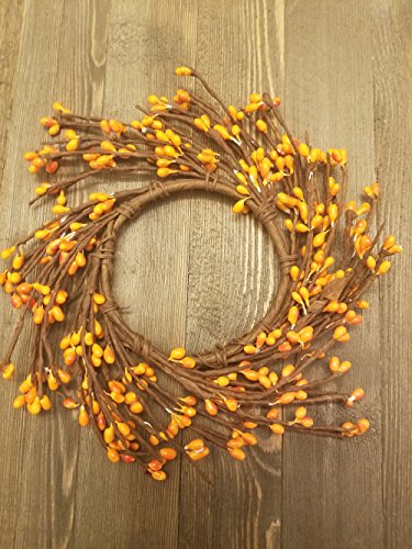 - Orange Mini Wreath Or Candle Ring Country Primitive Floral Décor - Pumpkin Orange Pips - Perfect Candle Ring For 3