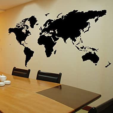 Colorfulhall Self-adhesive Wallpaper Vinyl Waterproof DIY World Map Murals Office and Home Wall Decal Stickers