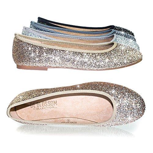 Round Toe Flat Women Shoes (Bamboo Women's Round Toe Ballet Flats With Iridescent Rhinestone Studs On Glitter Vamp)