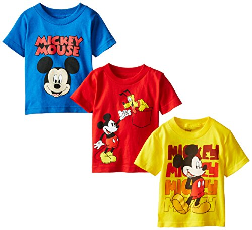Disney Little Boys' Toddler Mickey Mouse Toddler Boys T-Shirt 3-Pack No 1, Assorted, 4T