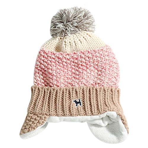 Baby Kids Knitted Cap Lined Plush Winter Warm Hat with Earflap Pom Pom Beanie (Pink) - Earflap Ball Cap