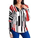 Triskye Womens Casual Long Sleeve Blouse Striped Printed V-Neck Zipper Sweatshirt Shirt Tunic Top for Ladies Teen Girls