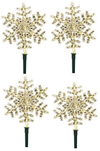 GE 4 Count - 8 in 1 - Dual Color 52 LED Snowflake Pathway Set - Color Choice - Warm White or Cool White