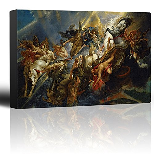 wall26 - Oil Painting of The Fall of Phaeton by Peter Paul Rubens - Baroque Style - Angels, Catholic, Christianity - Canvas Art Home Decor - 24x36 -