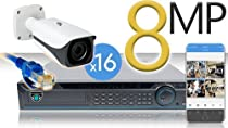 16 CH NVR with 16 4K 8MP Mini Bullet Cameras 4K Kit for Business Professional Grade FREE 1TB Hard Drive