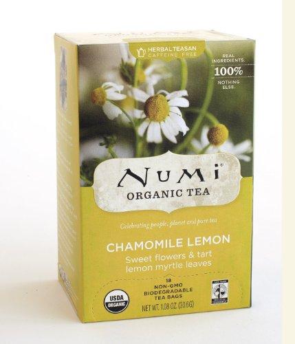 Numi Methodical Tea Fair Trade Chamomile Lemon, Herbal Teasan, 18-Count Tea Bags