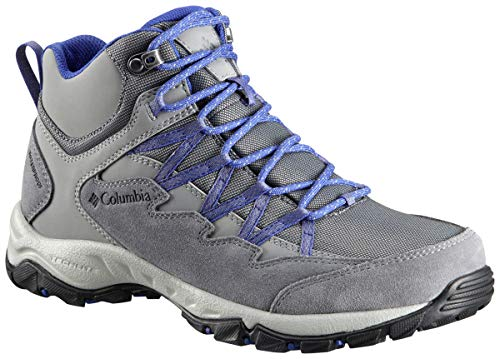 Columbia Women Wahkeena Mid Waterproof Hiking Boot, Breathable, High-Traction Grip, Ti Grey Steel, Clematis Blue, 6 (Columbia Sportswear Boots)