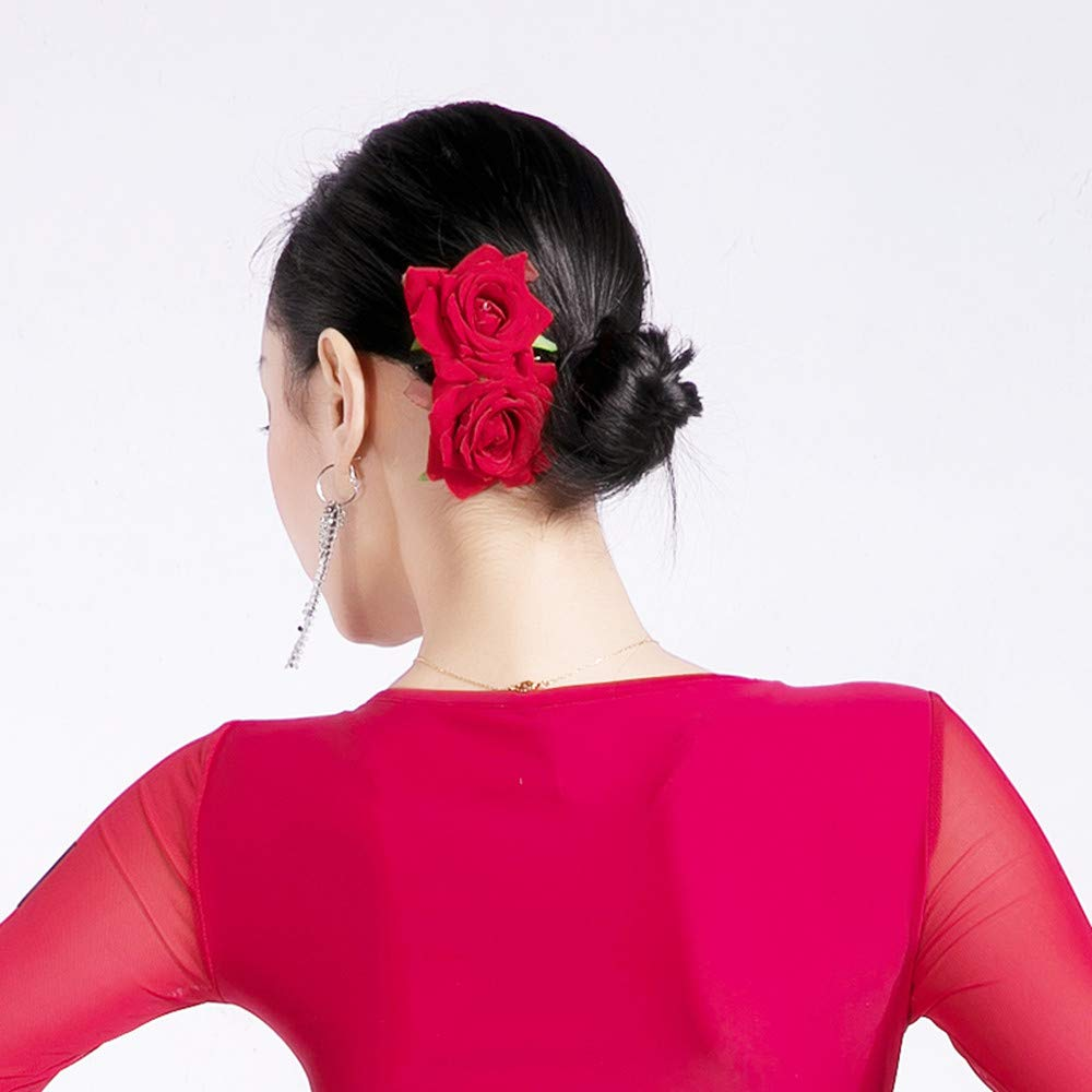 Roses Flower Hair Comb Rubby Red Clip Women Fascinator Headpiece Pin - Bridal, Wedding, Dancing, Prom, Holiday Gift (Rubby Red)