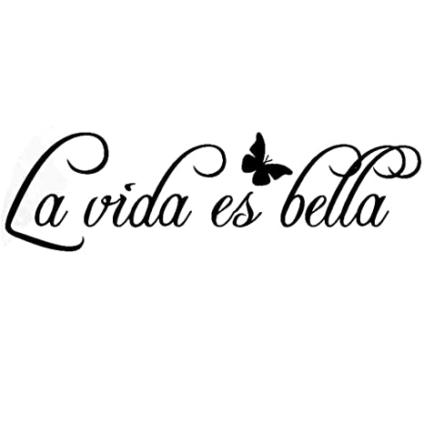 La Vida Es Bella - Vinilos Decorativos Pared Kililaya Calcomanía Frases Letras con Mariposa, Pared