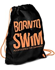 BornToSwim Trekkoord waterdichte rugzak zwemtas haai motieven, zwart met