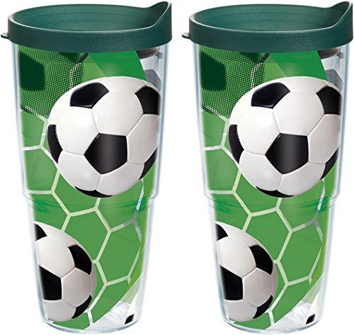 Tervis pelotas de fútbol–césped fondo 680.4gram transparente vaso 2unidades con tapa de Hunter verde