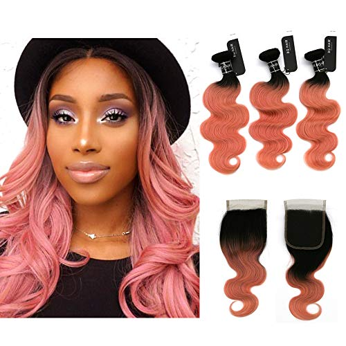 (BQ HAIR 8A Top Quality 1B/Rose Gold Ombre Brazilian Body Wave Two Tone Virgin Human Hair 3 Bundles with 4