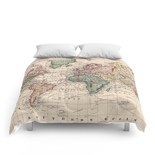 Amazon.com: Society6 Vintage Map Of The World (1833) Comforters Full ...