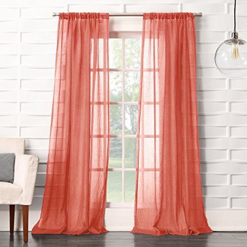 (Sun Zero Tayla Soft Crushed Linen Texture Rod Pocket Curtain Panel, 50