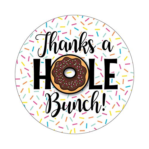 36 2.5-inch Donut Stickers - Thank You Labels - Thanks a Hole -