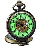SEWOR Bronze Magnifier Stand Up Pocket Watch Luminous Dial Mechanical hand wind C146