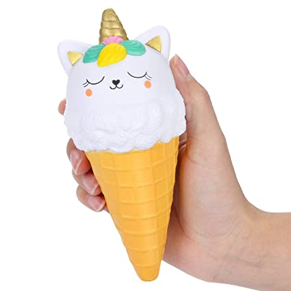 Advertising Supply Slow Rising Soft Package Mobile Phone Strapes Kitchen Toys Super Jumbo White Ice Cream Cone Squishy Scented Pretty And Colorful Automobiles