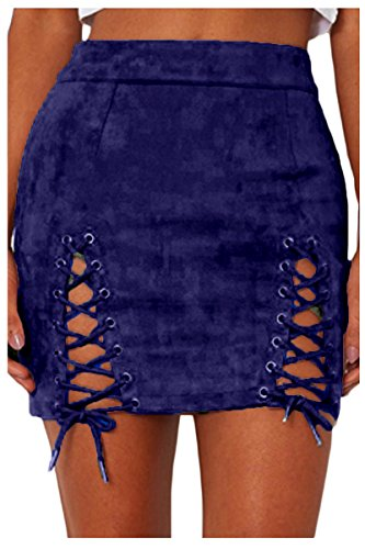 Meyeeka Vintage Lace Up Bodycon High Waist Faux Suede Mini Skirt for Women Blue M