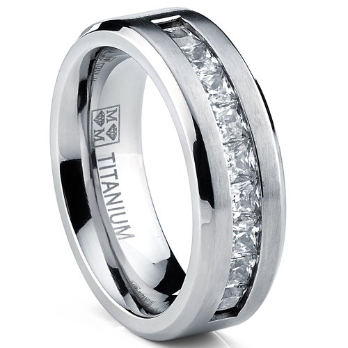Titanium Men's Wedding Band Engagement Ring with 9 large Princess Cut Cubic Zirconia Size 9
